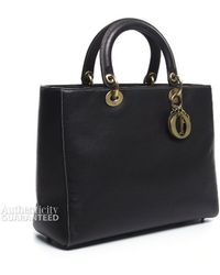 Dior Pre-owned Pebbled Leather Large Lady Dior Bag - Lyst