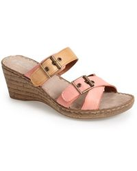 Bella Vita 'Modena' Leather Wedge Slide Sandal - Lyst