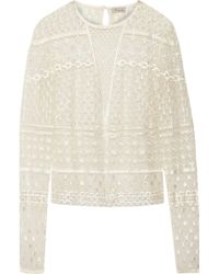 Temperley London Embellished Embroidered Tulle Top - Lyst