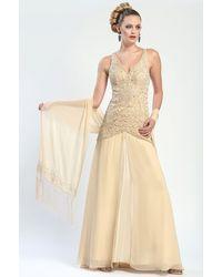 Sue Wong Crisscross Back Gown - Lyst