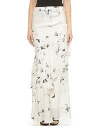 Haute Hippie Cascading Ruffle Maxi Skirt - Swan Multi - Lyst