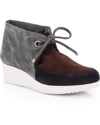 Robert Clergerie Suede Lace-Up Ankle Boots - Lyst