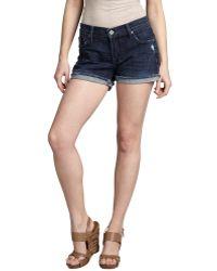 James Jeans Gossip Wash Blue Stretch Denim 'Shorty' Frayed Shorts - Lyst
