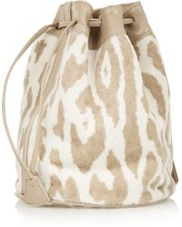 Finds Leather-trimmed Cotton-terry Bucket Bag - Lyst