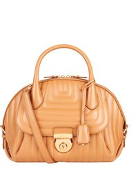 Ferragamo Fiamma Wave Quilted Leather Tote brown - Lyst