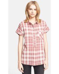 Burberry Brit Check Cuff Sleeve Cotton Blend Shirt - Lyst