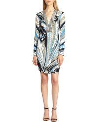 Emilio Pucci Studded Silk Dress blue - Lyst
