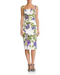Dolce & Gabbana Wisteria-Print Silk Sheath floral - Lyst