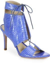 Loeffler Randall | Scarlet Anaconda Lace-up Leather Sandals | Lyst