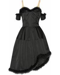 Simone Rocha Asymmetric Feather-Trimmed Satin Dress - Lyst