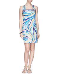 Emilio Pucci Abstract Stripe Crossback Satin Dress multicolor - Lyst