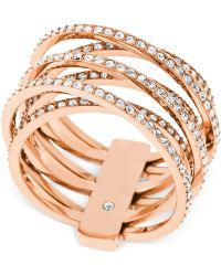 Michael Kors Clear Stone Crisscross Ring pink - Lyst