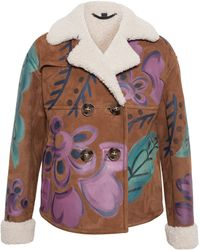 Burberry Prorsum Handpainted Cropped Sheepskin Jacket - Lyst