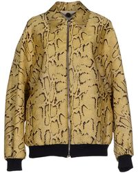 Stella McCartney Python Printed Silkblend Bomber Jacket yellow - Lyst