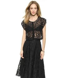 Milly Aztec Fil Coupe Crop Blouse - Black - Lyst