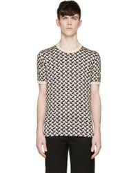 Dolce & Gabbana Beige And Black Cat Print T_Shirt - Lyst