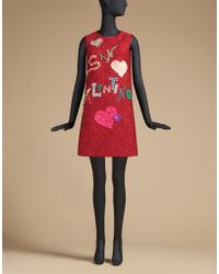 Dolce & Gabbana | St Valentine Brocade Dress With Appliques And Crystals | Lyst