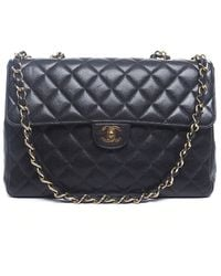 Chanel Pre-owned Black Caviar Jumbo Single Flap Bag - Lyst