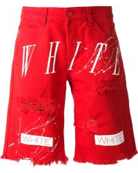 Off-White Printed Distressed Shorts - Lyst
