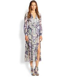 Burberry Prorsum Floral Silk Dress - Lyst