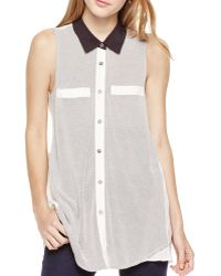 Two By Vince Camuto - Geometric Jacquard Mixed Media Top - Lyst