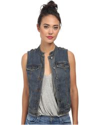 Free People Rugged Ripped Denim Lace Up Vest - Lyst