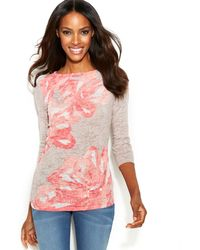 Inc International Concepts Floral-print Boat-neck Top - Lyst