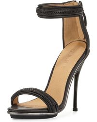 L.A.M.B. Braided Leather High-Heel Sandal - Lyst