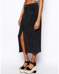 Monki Black Acid Wash Skirt - Lyst