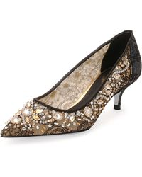 Rene Caovilla Crystal-Embellished Lace Pump - Lyst