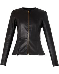 The Row Anaste Collarless Leather Jacket - Lyst