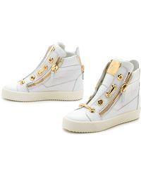 Giuseppe Zanotti Croc Embossed Sneakers - Bianco - Lyst