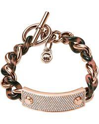 Michael Kors Pavé Plaque Curb Chain Toggle Bracelet - Lyst