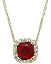 Kate Spade Gold-Plated Crystal Pavé Square Pendant Necklace - Lyst