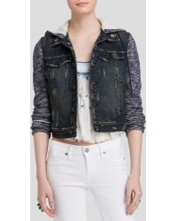 Free People Jacket - Denim And Knit Hooded - Lyst