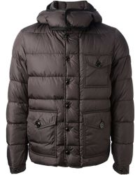 Moncler Gray Quilted Coat - Lyst