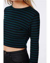Missguided - Long Sleeve Striped Ponte Crop Top Teal - Lyst