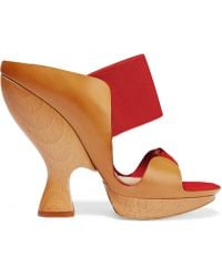 Donna Karan - Leather And Suede Sandals - Lyst
