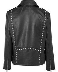 Hide - Black Star Stud Leather Biker Jacket - Lyst