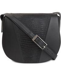 Vince - Black Lizard-effect Leather Shoulder Bag - Lyst