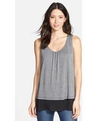 Pleione Double Layer Mixed Media Top gray - Lyst