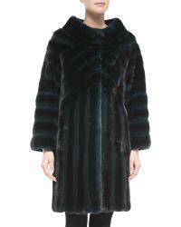 J. Mendel Geometric-Pattern Mink Fur Coat - Lyst