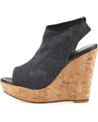 Stuart Weitzman Glover Peep-Toe Stretch Wedge - Lyst