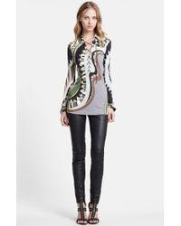 Emilio Pucci Lace-Up Neck Print Jersey Shirt black - Lyst
