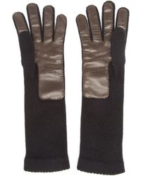 Inverni Knitted Cashmere And Leather Gloves - Lyst