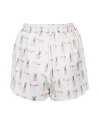 TOPSHOP -  Flamingo and Pineapple Crepe Runner Shorts  - Lyst