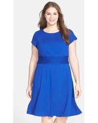 Eliza J Cap Sleeve Fit and Flare Dress - Lyst
