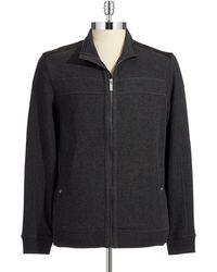 Calvin Klein Grench Rib Zip Up Sweater - Lyst