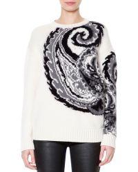 Just Cavalli Wool Blend Paisley Jacquard Sweater - Lyst