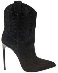 Saint Laurent Paris Western Suede Ankle Boots - Lyst